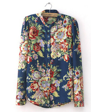 Plus Size Clothing New Fashion Spring European Vintage Floral Print Long Sleeve Women Tops Shirts Blouses