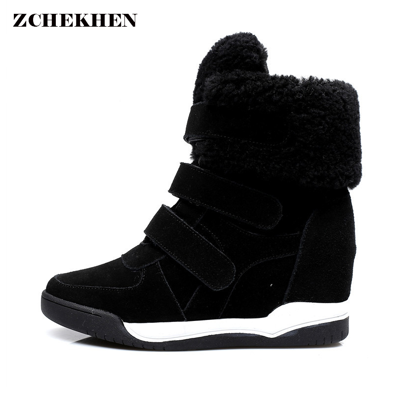 Fashion Suede Women Fur Snow Ankle Boots Wedges Girl Shoes Height Increasing Hook Loop Winter Shoes Hip Hop Star Runway suede ankle snow boots