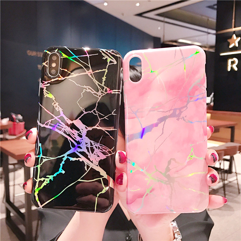 For iPhone XS Max XR XS X 8 8 Plus Cover UYFRATE Ultra Slim Thin Laser Marble TPU Soft Case For iPhone XS Max 7 7Plus 6 6s Plus