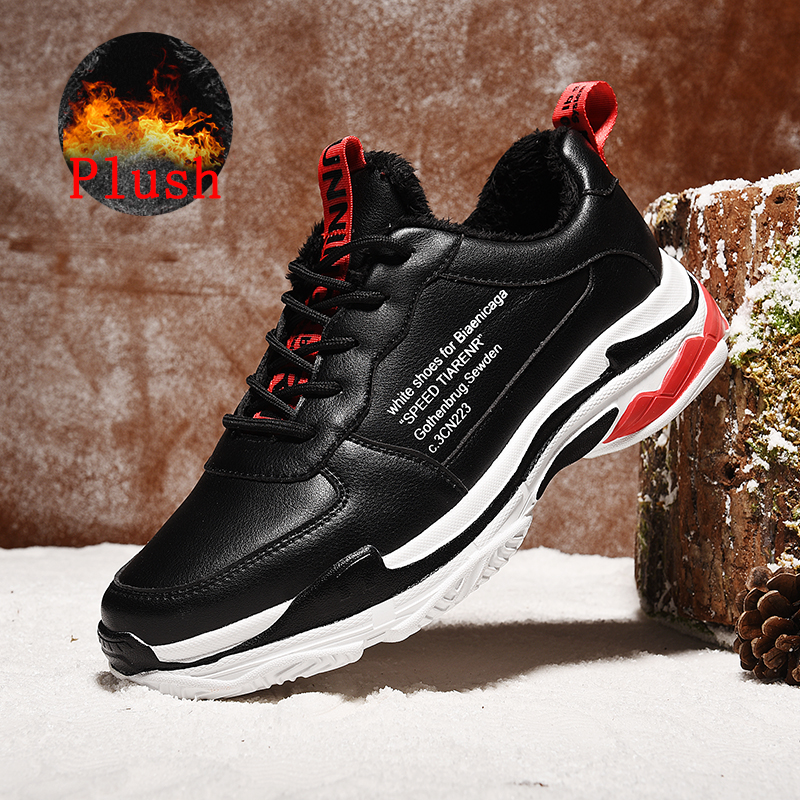 SUROM Winter Plush Warm Sneakers Men Shoes Casual Comfortable Fashion Leather Lace Up Male Shoes Light Athletic Tmallfs
