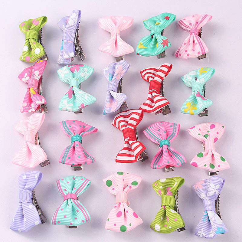 Popular 6PCS/lot Random Color Lovely Small Bowknot Hair Clips Mini Hairpin funny blades style small plastic spinning tops random color 4 pcs