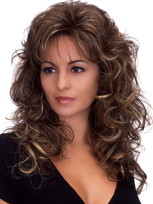 womens shoulder length hair styles charming smart s brown mixed wigs curly 6231