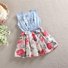 Девушки Повседневные платья Мода 2016 новый цветы печати летом Рукавов лоскутное ковбой платье vestidos девушка одежда для малышей