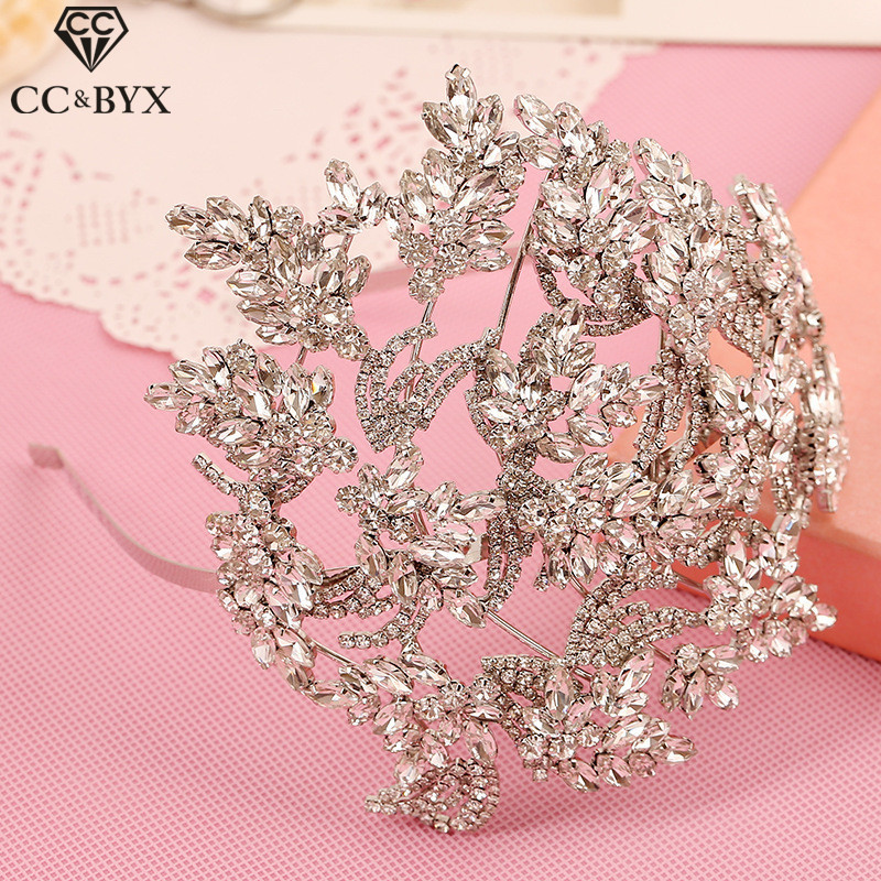 CC tiaras and crowns hairbands luxury pageant crystal rhinestone wedding hair accessories for bride bridal hairwear jewelry s451 03 red gold bride wedding hair tiaras ancient chinese empress hat bride hair piece