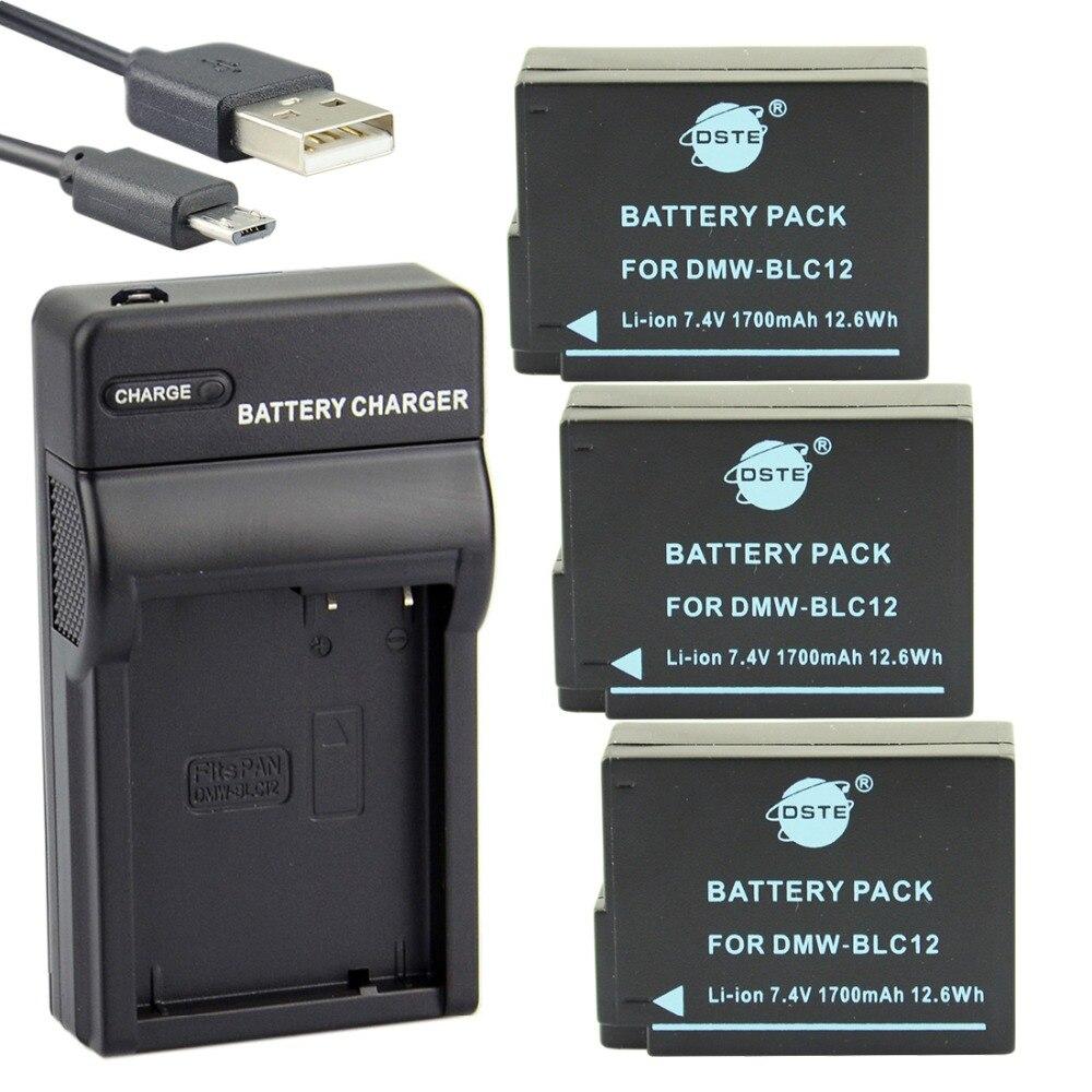 ФОТО DSTE 3PCS DMW-BLC12 Li-ion Battery + UDC114 USB Port Charger For Panasonic DMC-GH2 DMC-GH2GK DMC-G7 Leica Q Camera