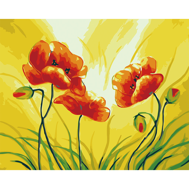 Aliexpresscom Comprar Sin marco flores rojas diy kits de arte