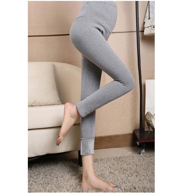 Quente Anti-Frio Espessamento Leggings de Veludo Calças Lápis Calças Justas para As Mulheres Grávidas de Cintura Alta Da Maternidade Leggings Roupas