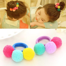 Baby Girls Elastic Hair Bands Cute Little Girls' Three Fur Pompom Elastic Three Colorful Pompom Hair Tie Headwear(China)