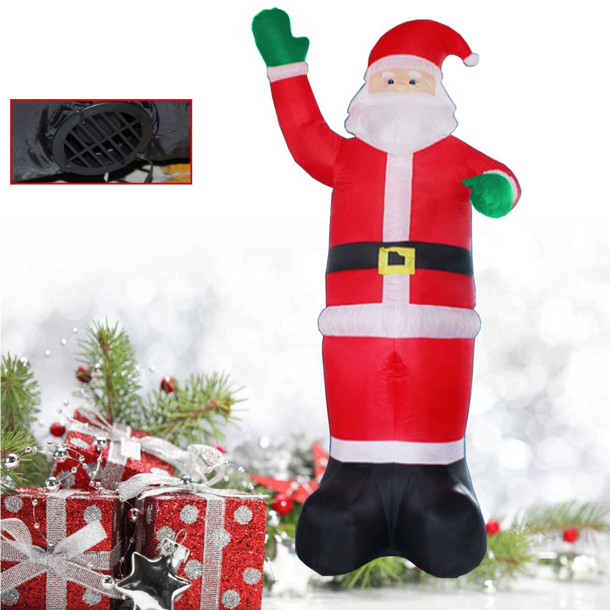 1.2 3.5M Inflatable Santa Claus Christmas Tree Outdoor Lawn Yard ...