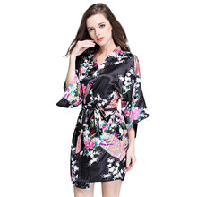 Silk Bridesmaid Bride Robe Sexy Women Short Satin Wedding Kimono Robes Sleepwear Nightgown Dress Woman Bathrobe Floral robe #40B(China)