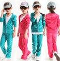 2015 primavera marca niños de juegos de ropa niñas bebés de terciopelo bebé del niño de ocio deportes de los muchachos abrigos + pant suit wholesale retail