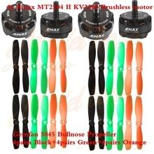 4x Emax MT2204 II KV2300 Brushless motor + Hélice 12 pares Gemfan 5045 Bullnose 4x Preto + 4x Verde + 4x Laranja para Zangão FPV QAV250