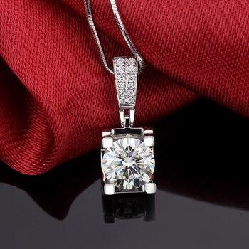 Fashion Slide Wedding Pendant 18K White Gold 1 Carat Round Shape Moissanite Diamond Necklace Gifts for Women 4
