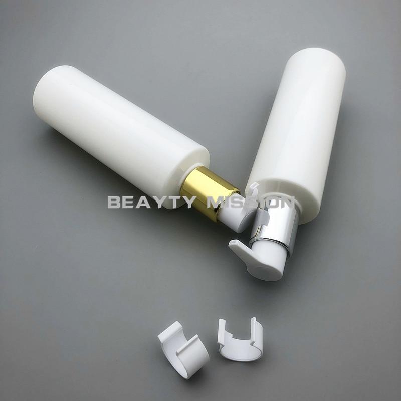 BEAUTY MISSION White 24 pcs lot 250ml Flat Shoulder Gold Silver Lotion Pump Plastic PET Bottle