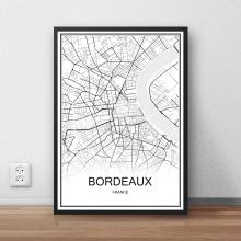 BORDEAUX France City Street Map Print Poster Abstract Coated Paper Bar Cafe Pub Living Room Home Decoration Wall Sticker 42x30cm