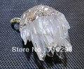 Atacado 10 pçs/lote Druzay Natural Claro Ponto de Cristal de Quartzo Druzy Geode pingente de colar
