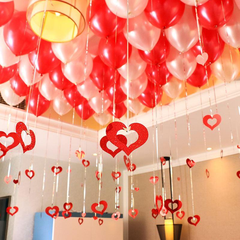 100 pcs pluies 100 pcs pendentifs ballons pluie Pendentif Coeur ballon de mariage disposition de la salle de mariage fournitures