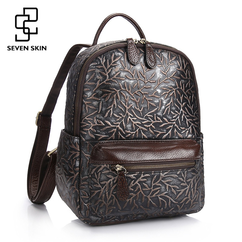 2017 New Female Fashion Design Embossed Flower School Bag Preppy Style Vintage Backpacks for Teenager Girls Genuine Leather Bag