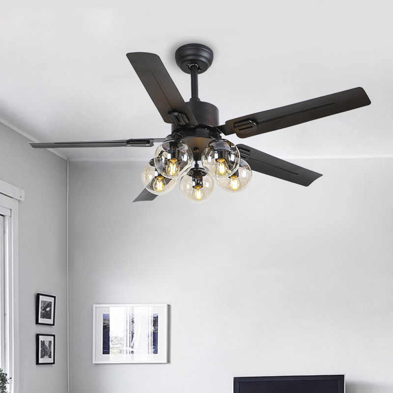 Modern Black Vintage Ceiling Fan With Lights Remote Control Ventilador De Techo 220 Volt Bedroom E27 Bulb Ceiling Light Fan Lamp Ceiling Fans Aliexpress