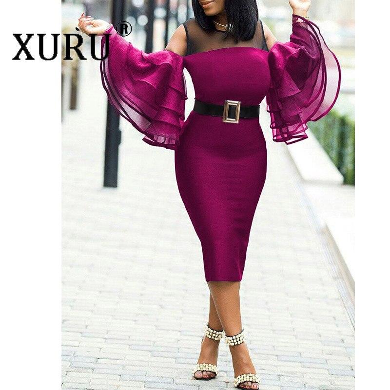 XURU Summer Women 39 s Sexy Perspective Dress XL Dress XL 6XL New Ruffled Sleeve Tights Hip Dress No Belt in Dresses from Women 39 s Clothing