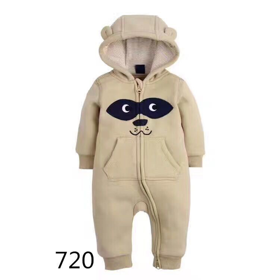 2017 NEW Baby Boy Rompers Winter Thick Warm Baby Girls Clothing Long Sleeve Hooded Jumpsuit Kids Newborn Outwear for 6-24M CAP new baby rompers winter thick warm baby boy clothing long sleeve hooded jumpsuit kids newborn outwear for 0 12m