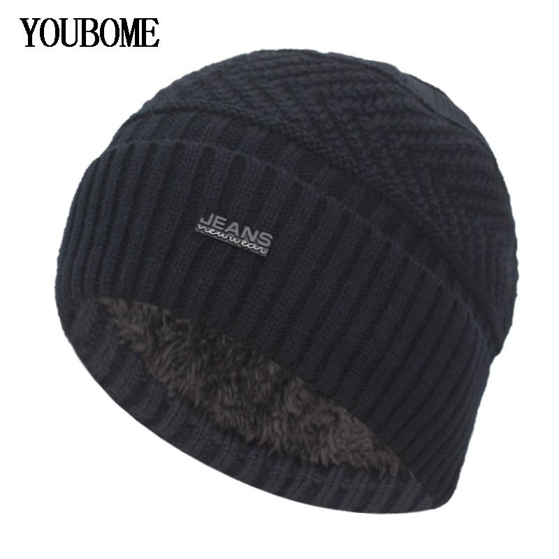 YOUBOME Skullies Beanies Winter Hats For Men Scarf Knitted Women Male Gorras Warm