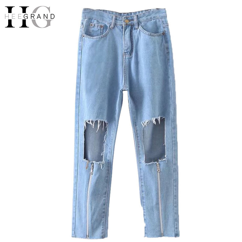 HEE GRAND 2017 High Waist Bule Jeans Denim Pants for Women Vintage Knee Holes Jeans Spring Summer Fashion New Zippper WKN521 hee grand 2017 ankle length jeans women spring washed denim straight women jeans high waist jeans trousers women pants wkn481