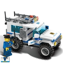 Building block model police educational toy 10424 compatible brick Legoing City armored police car 60047 ss 008 1 35 israel achzarit heavy armored transporter later model building kit toy
