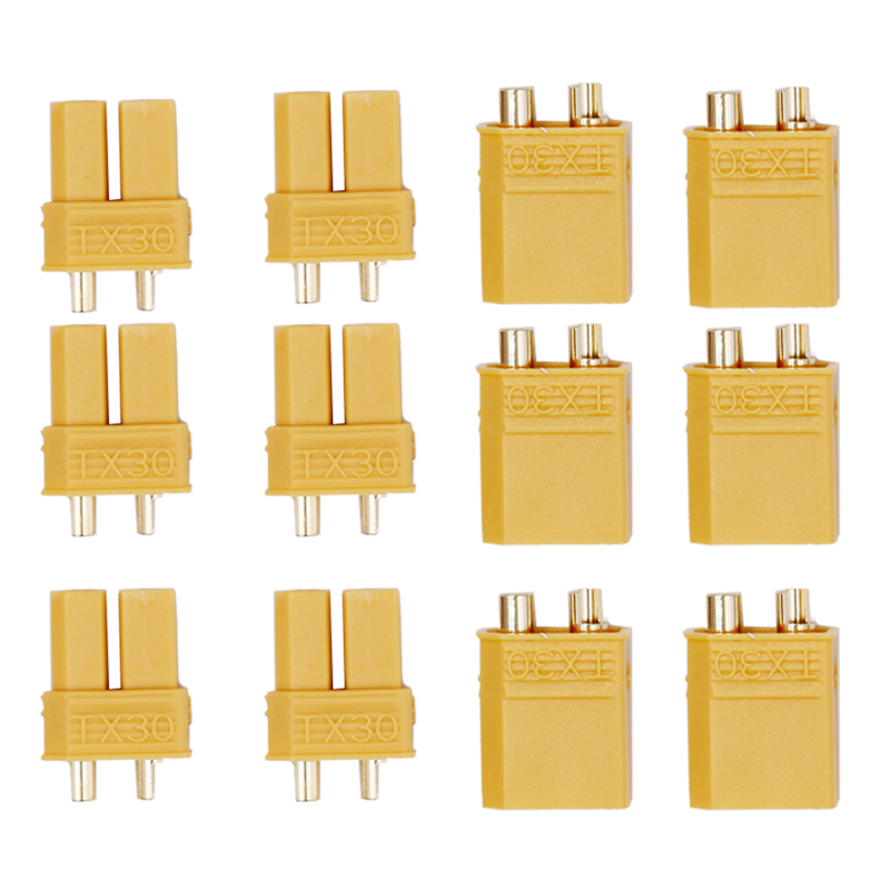 XT30 Yellow Battery Connector Set Male Female Gold Plated Banana Plug for Helicopter 20% off 10 pairs hot selling yellow xt30 xt60 xt90 high quality male female gold plated battery connector plug for rc aircraft