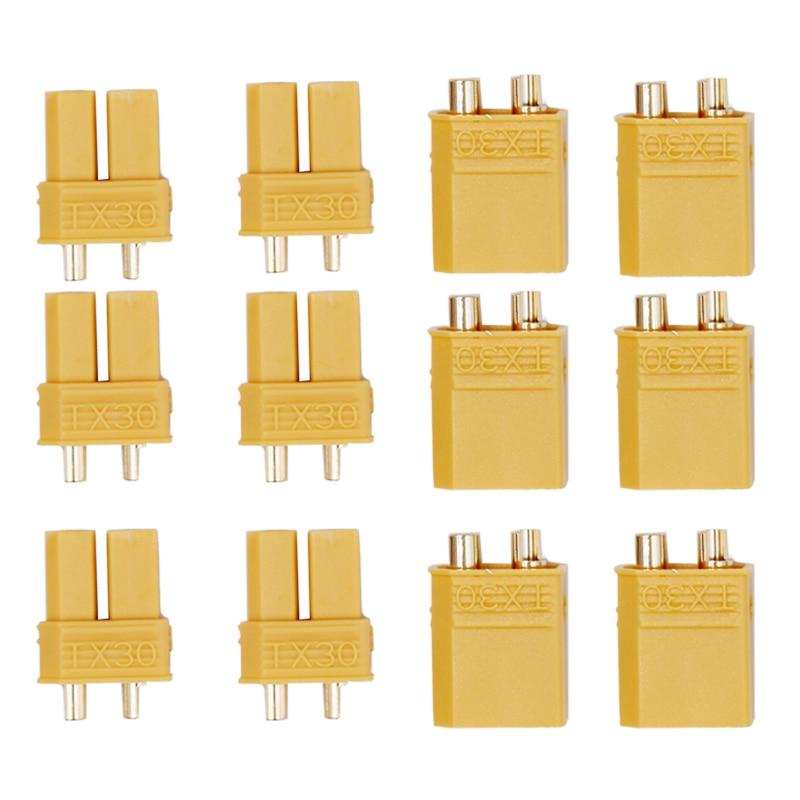 где купить XT30 Yellow Battery Connector Set Male Female Gold Plated Banana Plug for Helicopter 20% off по лучшей цене