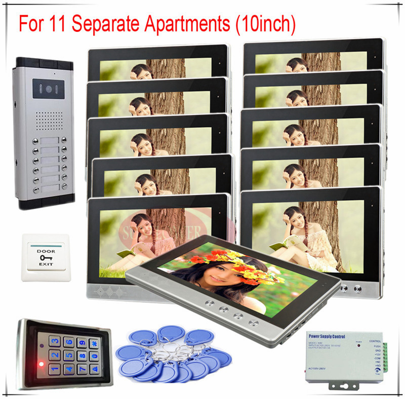 Access Control System Video Door Phones intercom systems For 11 Apartments 10 LCD Indoor unit and 12 keys Security Doorbell prasanta kumar hota and anil kumar singh synthetic photoresponsive systems