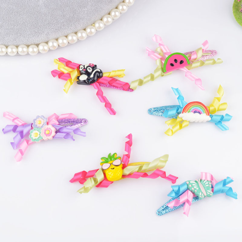 Ribbon Bow gift children kids baby girls hair accessories Butterfly hair bands hairpin Rainbow Retail wholesale Boutique tiara