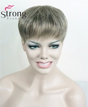 StrongBeauty Toupet Womens Synthetisch haar korte Toupe Hair Extensions Haarstuk KLEUR KEUZES