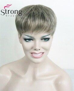 Image 1 - StrongBeauty tupé corto de pelo sintético para mujer, extensiones de cabello, opciones de color