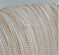Top Real Pearl Small Rice Bead 1 8mm Natural Pearl Highlight Pearl 40cm Strand White Pink