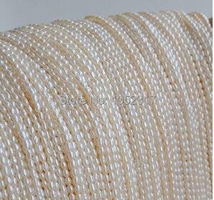 Image 1 - Topo pérola real pequeno grânulo de arroz 1.8mm natural de água doce pérola 35cm um fio branco rosa roxo solto grânulos jóias femininas