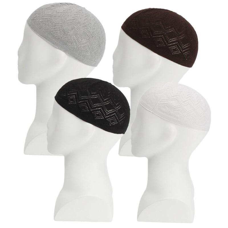 Skull Cap Islamic Muslim Prayer Hats For Men Head Wear Clothing Adjustable Warm Wool Handmade Knitting Hat Cap Turban