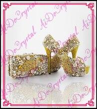 Aidocrystal Hohe qualität handmade fashion neueste Gelb kristall frauen high heel schuhe passenden taschen für hochzeit