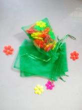 100 unids Hierba verde del regalo del organza bolsas 11×16 cm bolsos de fiesta para las mujeres evento casarse Con Cordón bolsa de La Joyería pantalla Bolsa de accesorios de bricolaje