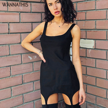 WannaThis Spaghetti Strap Slash Neck Sleevesless Summer Dress Slim Solid Casual Streetwear Sexy Irregular Mini