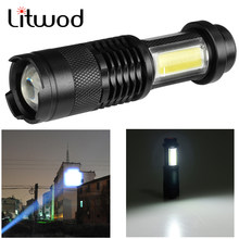 Z90SK68C LED MINI Flashlight Q5 & COB Zoom Waterproof Aluminum 4 Modes Torch use 14500 or AA Battery For Camping working(China)