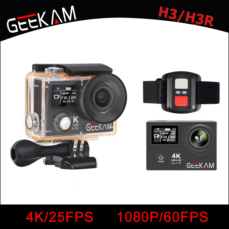 GEEKAM H3/H3R Action Camera 4K Wifi Ultra HD 170D Go 30M Waterproof Mini Cam Pro Double Screen Swim Sports Camera Hero 4 style action camera h3 4k ultra hd wifi 1080p go sj pro style with h3r remote control waterproof dual screen sport camera