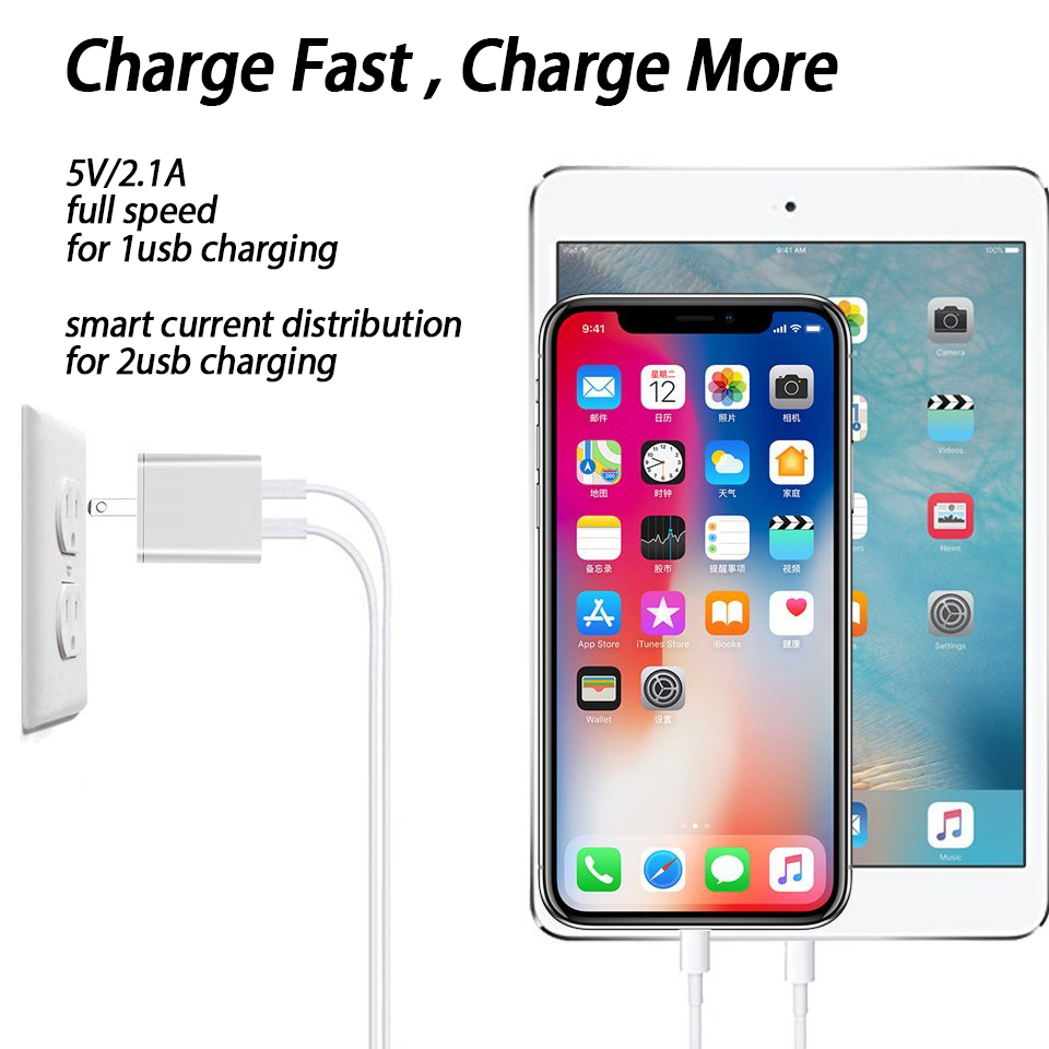 2.1A Dual Port USB Charger Plug for Apple iPhone iPad Mini 2 3 4 Air 2 Airpods 12W Original Small USB Wall Charger US Plug 2A 1A 8