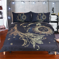 Free Shipping Gold Stamping Moon Sun Star 1pc Duvet Cover And 2pcs Pillow Cases Feather Bedding