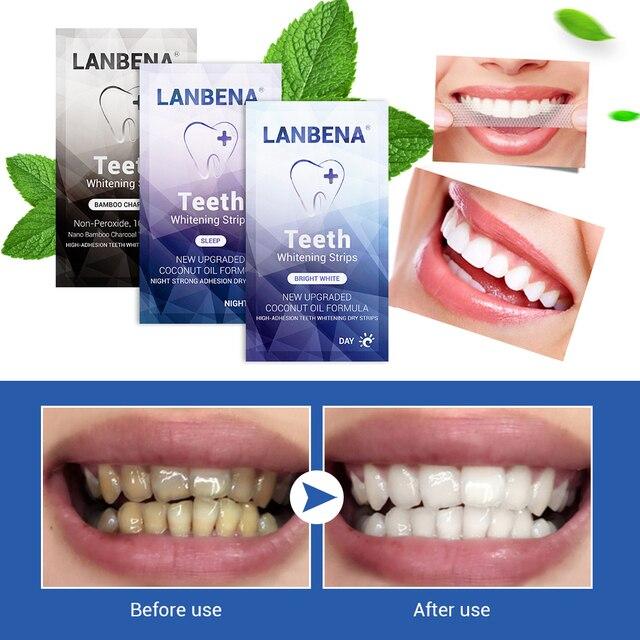 LANBENA las tiras blanqueadoras de dientes de carbón de bambú de limpieza cuidado de cada noche uso Oral higiene Dental herramientas 1 PC