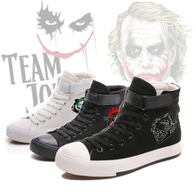 Batmans number one enemy Joker Cool Pattern Printing Canvas Shoes High-top Flat Casual Mens Fashion Students shoes