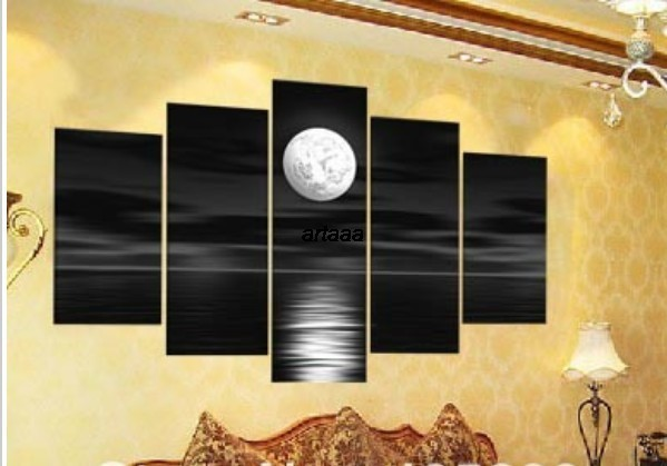 Black and white night moon sea hand painted pop canvas for Modern home decor gifts