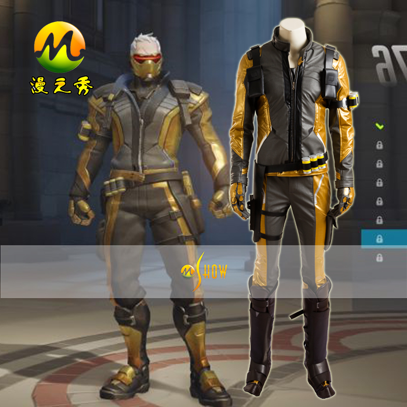 Cusom Made Gold Version Soldier 76 Jacket Cosplay Costume for Adult Men Women Halloween Party Costumes Clothing Outfit