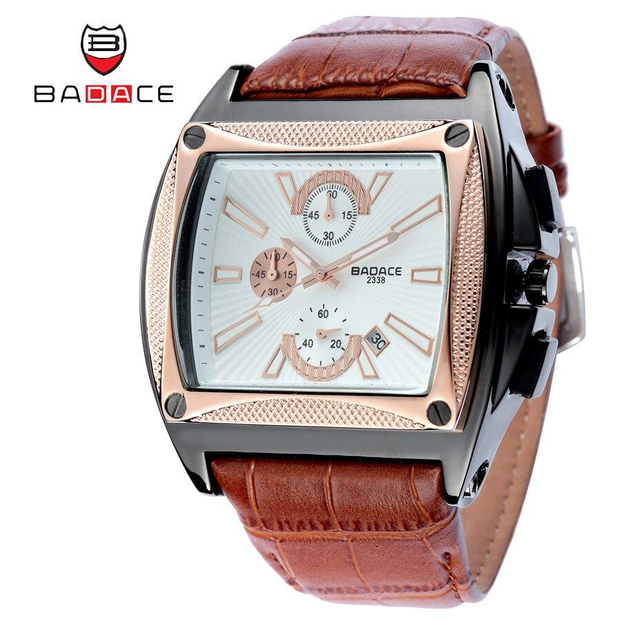 Badace marca ORO de lujo relojes hombres de cuarzo vintage negocios reloj  moda casual correa de cuero horas reloj del cuadrado del 2338 d4debe94fa29