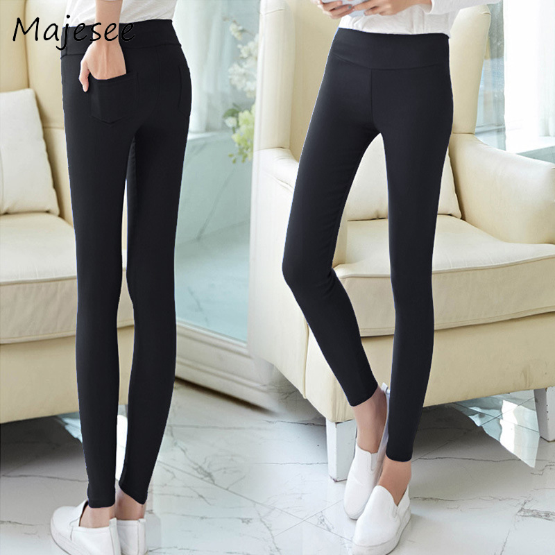 Pencil Pants Plus Size XS-3XL Women High Waist Slim Womens Trousers Casual Solid Color Ladies Elegant Pockets School Student New